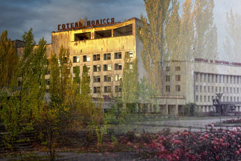 Then and now views of the Polissya Hotel merged into one