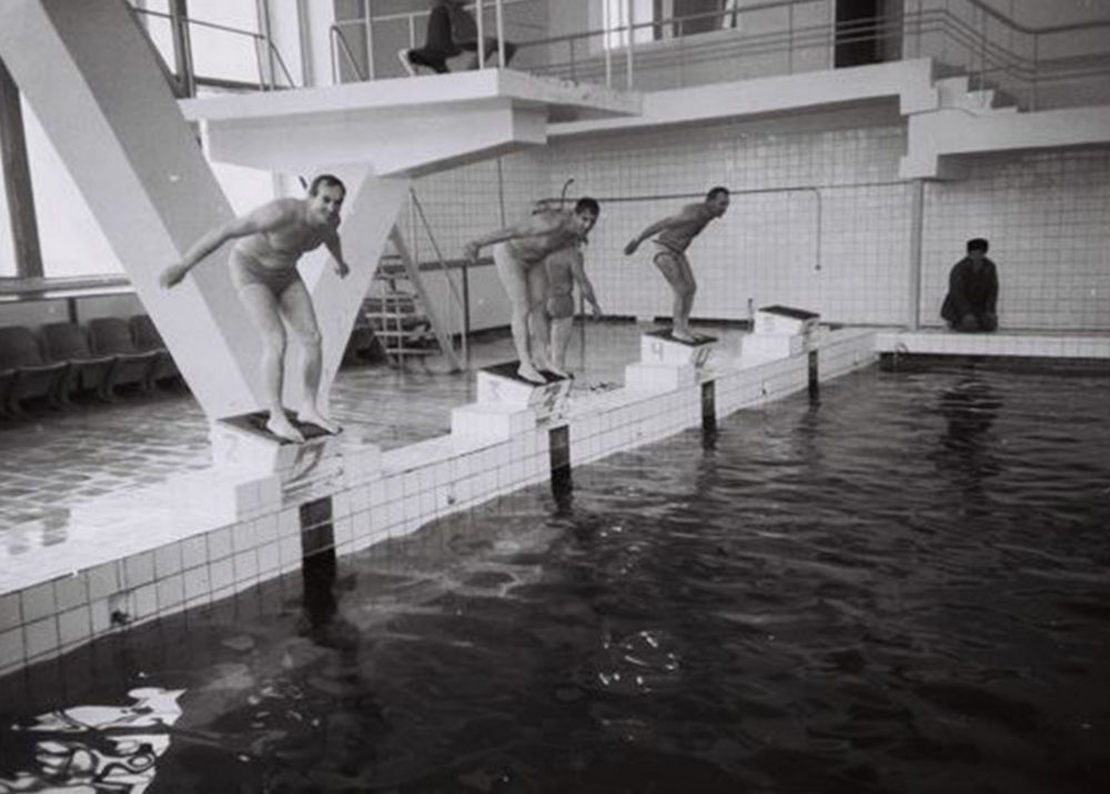 Diving boards in the swimming pool