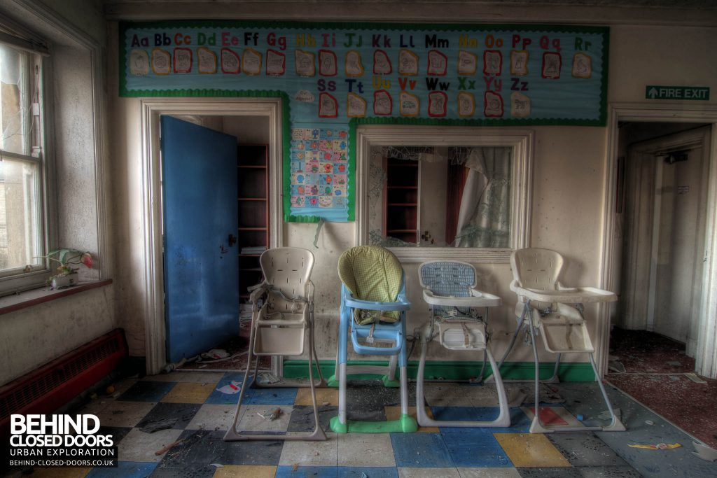 St John's Nursery - High Chairs and the Alphabet Wall